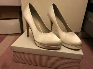 High Heels ivory Satin Ballschuhe