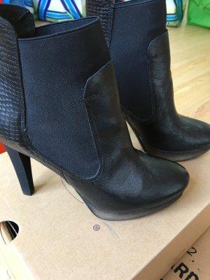 High heels Leder Stiefel schwarz