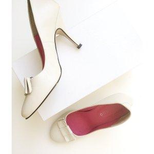 High Heels mit Schleife Leder schicke Pumps Creme weiß wedding-Style 39