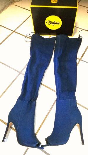 High Heels Overknee Jeans 41 Buffalo NEU Sockboots