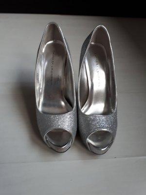 High Heels, Peeptoe, silber