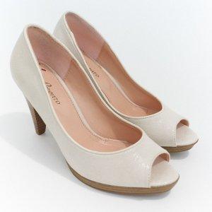 High Heels Peeptoes von Lorenzo weiß nude
