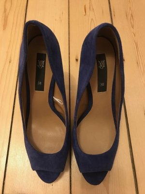 High Heels Peeptoes Wildleder Leder Mango blau Party Gr. 38
