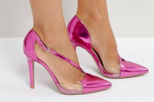 High Heels Pink Metallic Transparent NEU Gr 38