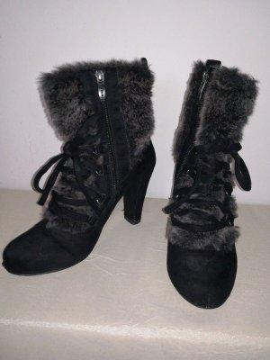 High Heels Plateau Gr.37 Tamaris Stiefel Stiefeletten Fell Fake Fur schwarz 10cm