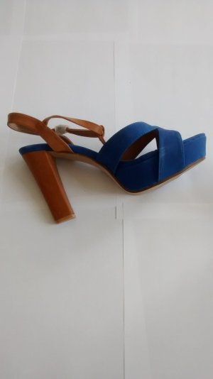 high heels plateau Gr. 40 blau braun neu Riemchen Sandalen Pumps