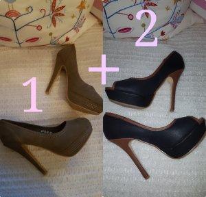 High-Heels, Plateau-Pumps, 2 Paar für 16,-