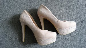 High Heels/Plateau-Pumps mit Strass in rosa