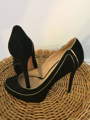 High Heels Plateau-Pumps  Schwarz Gold Wildleder Neu Guess by Marciano Gr. 36/37