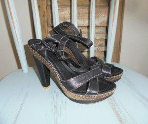 High Heel Sandal black-sand brown imitation leather