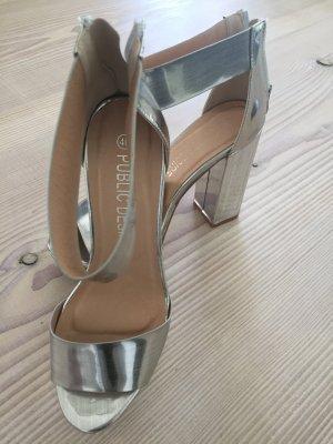 High Heels Plateau Silber Gr. 40 metallic
