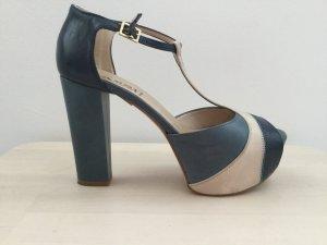 Vera Pelle Décolleté con plateau crema-blu acciaio Pelle