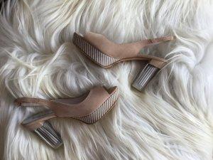 Andrea Manueli Platform High-Heeled Sandal beige leather