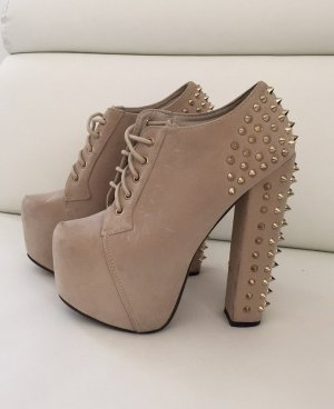 Lace-up Pumps camel-beige suede