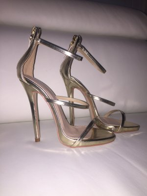 High heels pumps gold Riemchenpumps