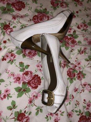 High heels pumps Leder Holz  weiß Sommer ZARA Hochzeit