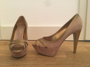 High Heels, Pumps, Peeptoes von Sergio Rossi, Gr. 37 in nude Wildleder mit Gold