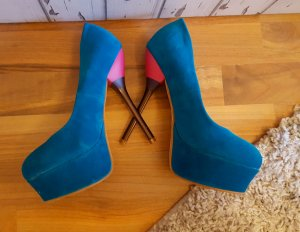 High Heels Pumps Samt türkis  38 Plateau