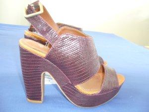 High Heels Pumps Stiefelette braunrot Blockabsatz H&M 38 neu mit Etikett