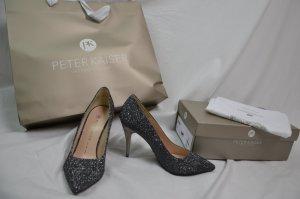 High Heels Pumps von Peter Kaiser Gr 6 39,5 spitz silberfarben Glitzer neu
