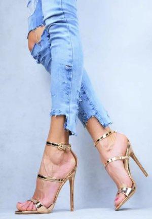 High Heels Rosegold Gold 39 Sandaletten
