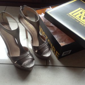 High Heels , Sandalette, Pewter Metalic Snake