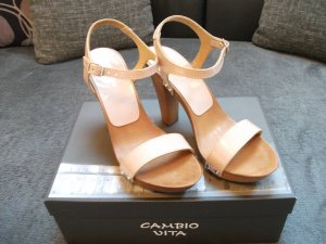 Cambio Platform High-Heeled Sandal dusky pink-cream