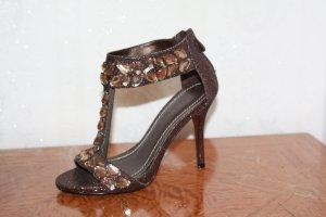 High Heels Sandaletten große Glitzersteine bronze