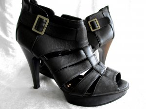 Platform High-Heeled Sandal black imitation leather