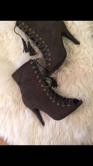 High heels schnüren Khaki