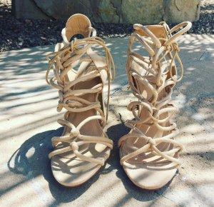 High heels schnürung beige nude missguided neu