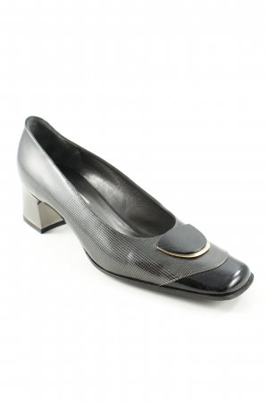 High Heels black-dark grey check pattern business style