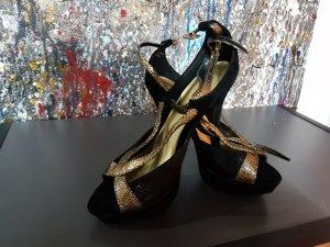 High Heels schwarz gold Größe 40