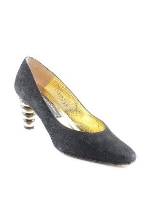 High Heels schwarz-goldfarben Elegant