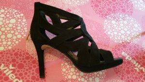 High Heel Sandal black mixture fibre