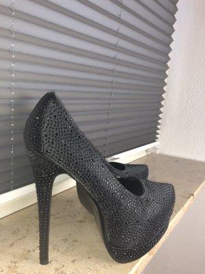 High Heels schwarz mit Strasssteinchen