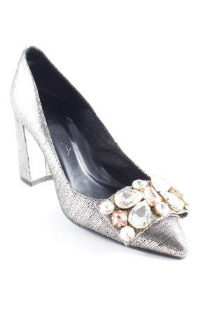 High Heels silberfarben-schwarz Elegant
