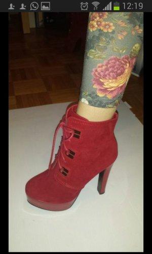 Belle Women Botines rojo oscuro