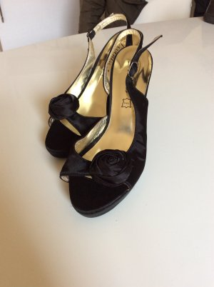 High Heel Sandal black-gold-colored leather