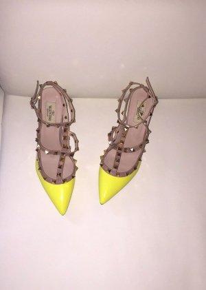 High Heels Pumps Neongelb Nieten Studs Sandaletten