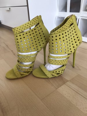 Jimmy Choo High Heels pale green-lime yellow leather