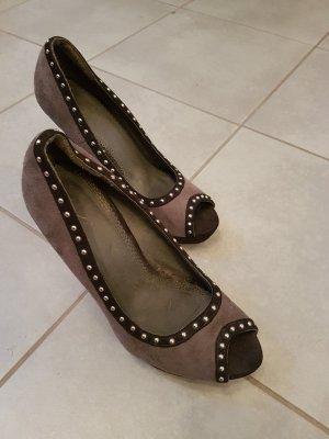 High Heels Wildlederoptik grau und schwarz