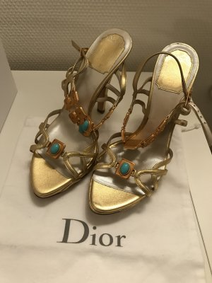 Christian Dior High-Heeled Sandals gold-colored-turquoise