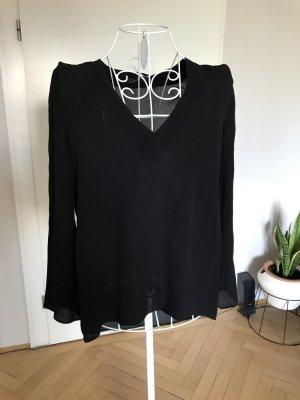 High-Low Bluse, Größe 38, schwarz