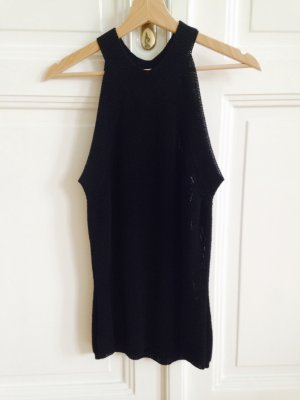 High neck top in schwarz