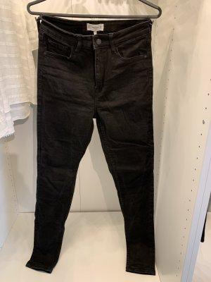 High Rise Jeans Schwarz MANGO 38