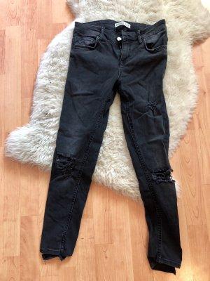 Zara Jeans taille haute noir-gris foncé