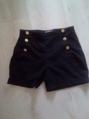 H&M High-Waist-Shorts black cotton