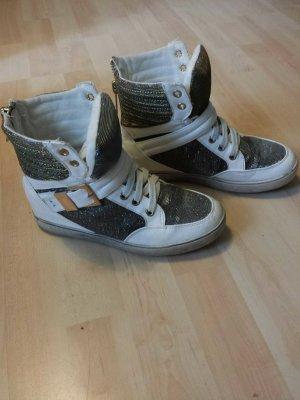 High Sneaker silbergold schimmernd