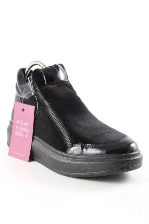 High Top Sneaker schwarz Glanz-Optik